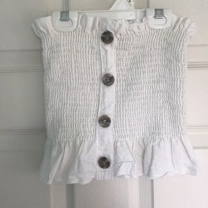 White ruched tube top